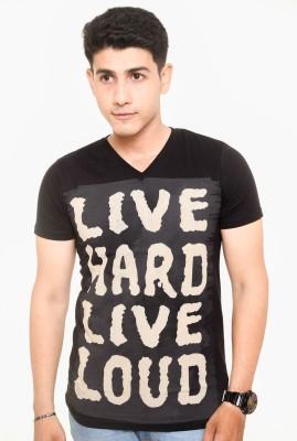 Zwizdot Printed Men,s V-neck Black T-Shirt
