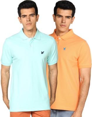 Provogue Solid Men's Polo Neck Multicolor, Green T-Shirt