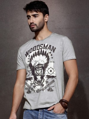 Roadster Printed Men's Round Neck Grey T-Shirt