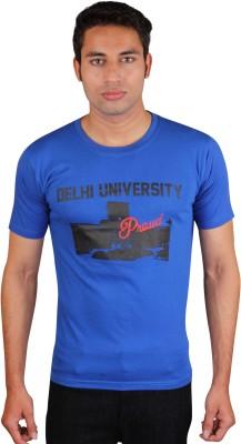 White Kalia Printed Men,s Round Neck Blue T-Shirt