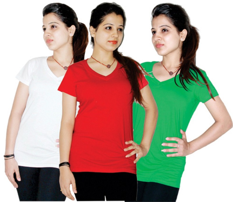 Xarans Solid Women's V-neck Red, White, Green T-Shirt(Pack of 3)