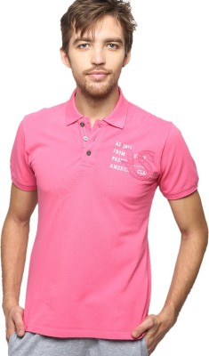 American Swan Solid Men's Polo Neck Pink T-Shirt