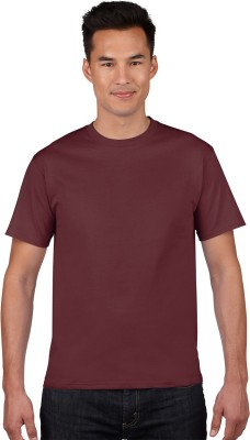 NUVA Solid Men's Round Neck Maroon T-Shirt