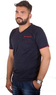 MjString Solid Men's V-neck Blue T-Shirt