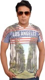 LofoX Printed Men's V-neck Multicolor T-...