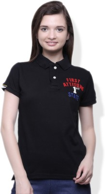 GOINDIASTORE Solid Women's Polo Black T-Shirt