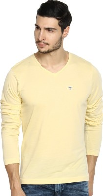 The Indian Garage Co. Solid Men's V-neck Yellow T-Shirt