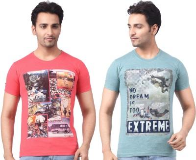 Four Squares Geometric Print, Graphic Print Men's Round Neck Multicolor T-Shirt