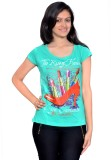 Gee & Bee Printed Women's Round Neck Blu...