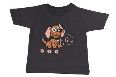 TSG Breeze Printed Baby Girl,s Round Neck Grey T-Shirt