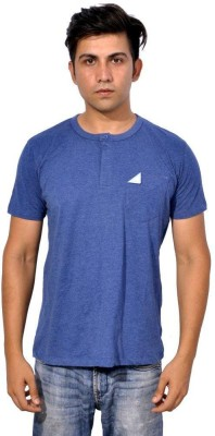 Sparkk Solid Men's Henley Blue T-Shirt