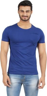 Hoodz Solid Men's Round Neck Blue T-Shirt