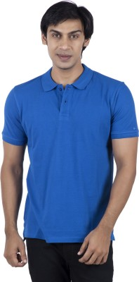 Stop To Start Solid Men's Polo Neck Blue T-Shirt