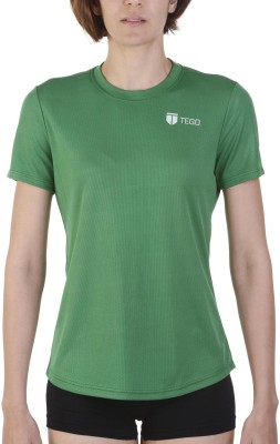 Tego Solid Women's Round Neck Green T-Shirt