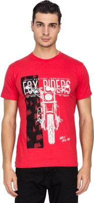White Square Printed Men's Round Neck Red T-Shirt
