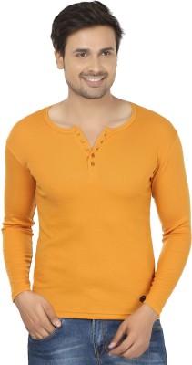 Fashcom Solid Men's Henley Yellow T-Shirt