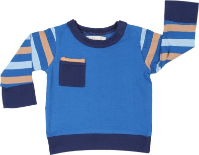 Toffee Moon Striped, Solid Baby Boy's Round Neck Blue T-Shirt