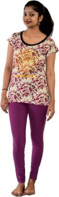 SUPRI Floral Print Women's Round Neck Multicolor T-Shirt