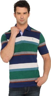 Donear NXG Striped Men's Polo Neck Green T-Shirt