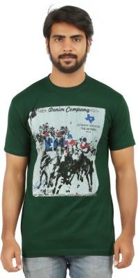 curviva Printed Men's Round Neck Dark Green T-Shirt