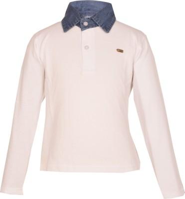 Gkidz Solid Boy's Polo Neck White T-Shirt