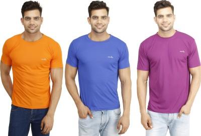 Eprilla Solid Men,s Round Neck Orange, Purple, Blue T-Shirt