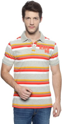 Peter England Striped Men's Polo Neck T-Shirt
