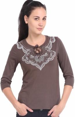 ESPRESSO Printed Women's Round Neck Brown T-Shirt