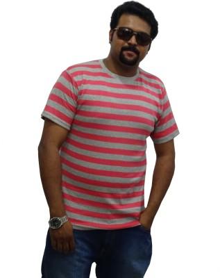 East West Striped Men's Round Neck Pink, Grey T-Shirt