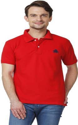 ABLOOM Solid Men's Polo Neck Red T-Shirt