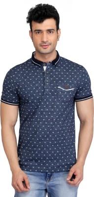 Glabrous Graphic Print Men's Flap Collar Neck Blue T-Shirt