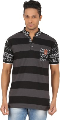 R-CROSS Striped Men,s Mandarin Collar Black T-Shirt