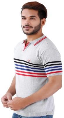 La MODE Striped Men's Fashion Neck Blue T-Shirt
