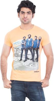 Zulements Printed Men's Round Neck Orange T-Shirt
