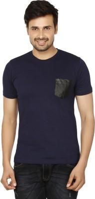 Essentiele Applique Men's Round Neck Blue T-Shirt
