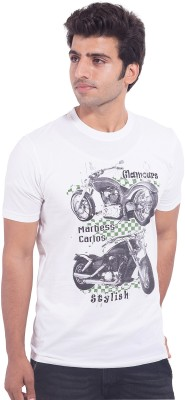 Nimbus Printed Men's Round Neck White T-Shirt