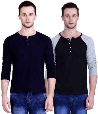 FABSTONE Solid Men's Henley Multicolor T-Shirt
