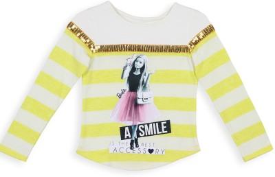 Barbie Striped Girl's Round Neck White, Yellow T-Shirt