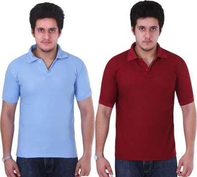 NGT Solid Men's Polo Neck Light Blue, Maroon T-Shirt