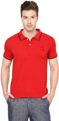 The Vanca Solid Mens Polo Neck Red T-Shirt