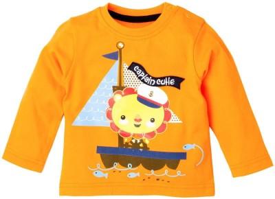 Fisher-Price Striped Baby Boy's Round Neck Orange T-Shirt