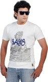 Bays Printed Men's Round Neck White T-Sh...