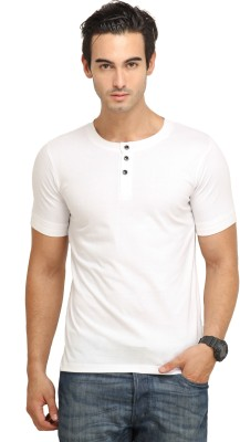 Fio Solid Men's Henley White T-Shirt