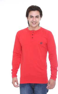 AVE Solid Men's Henley Red T-Shirt