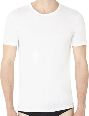 ADK Solid Men,s, Boy's Round Neck White T-Shirt