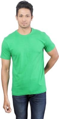 Oviyon Solid Men's Round Neck Green T-Shirt