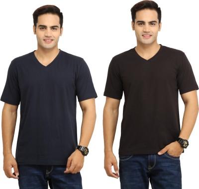 WallWest Solid Men's V-neck Multicolor T-Shirt