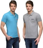 Tailor Craft Solid Men's Polo Neck Blue,...