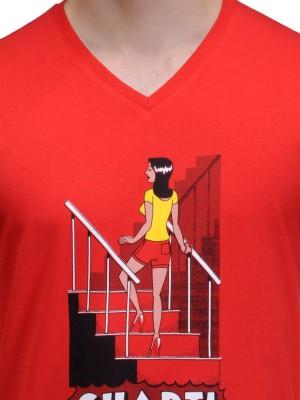 Rootstock Printed Men's V-neck Red T-Shirt