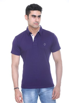Colors and Blends Solid Men,s Polo Neck Purple T-Shirt